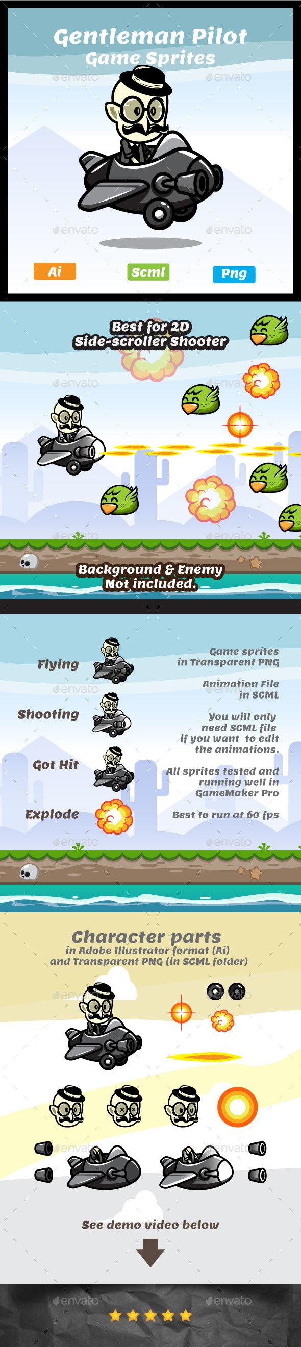 Gentleman Pilot - Aircraft Game Asset Sprites - Sprites Game Assets