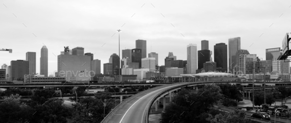 Monochrome Sky Over Downtown Houston Texas City Skyline Highway - Stock Photo - Images