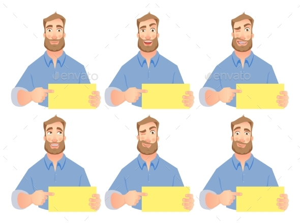 Man Holding Blank Sign - Set - Business Conceptual
