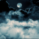 Flying Over The Clouds At Night - VideoHive Item for Sale