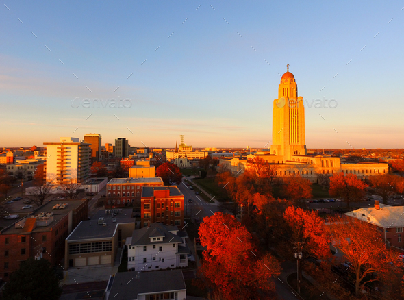 Fall Color Orange Tree Leaves Nebraska State Capital Lincoln - Stock Photo - Images