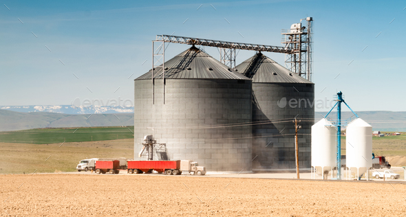 Silo Grain Elevator Food Storage Agriculture Industry Truck Transport - Stock Photo - Images