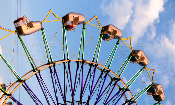 State Fair Carnival Amusment Ride Blue Sky - Stock Photo - Images
