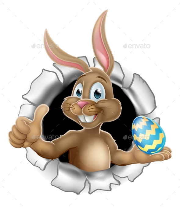 Thumbs Up Easter Bunny Rabbit Holding Egg - Miscellaneous Seasons/Holidays