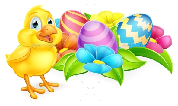 Chicken Chick and Easter Eggs - Miscellaneous Seasons/Holidays