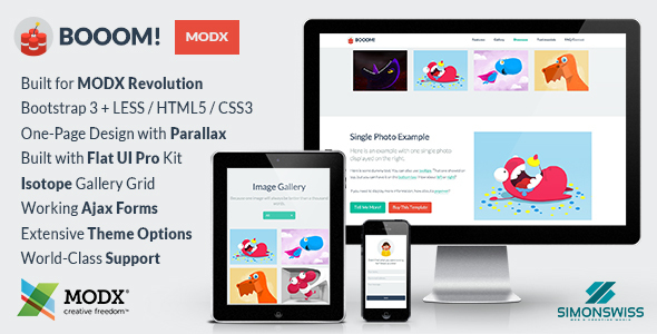 Image of Booom! - Bootstrap Flat UI Pro Theme For MODX