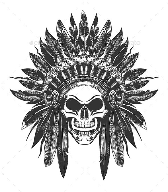 Native American Indian Skull in War Headdress - Tattoos Vectors