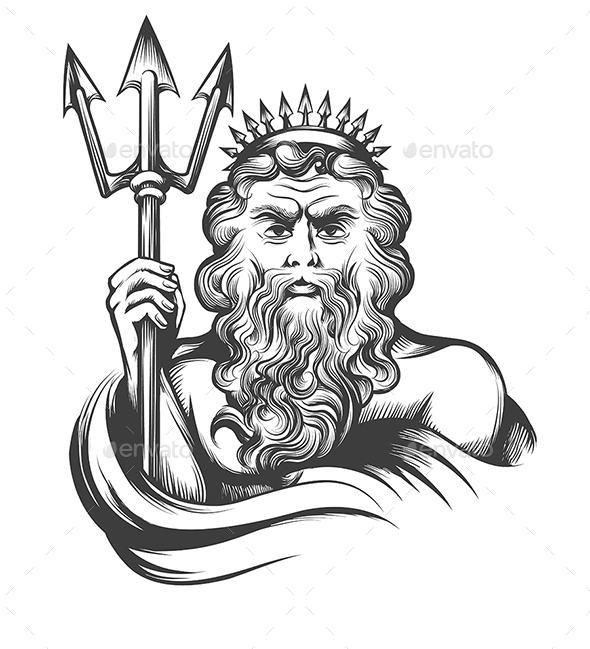 Neptune with Trident - Tattoos Vectors