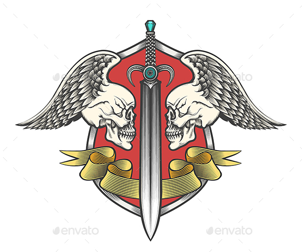 Sword With Two Winged Skulls and Ribbon - Tattoos Vectors