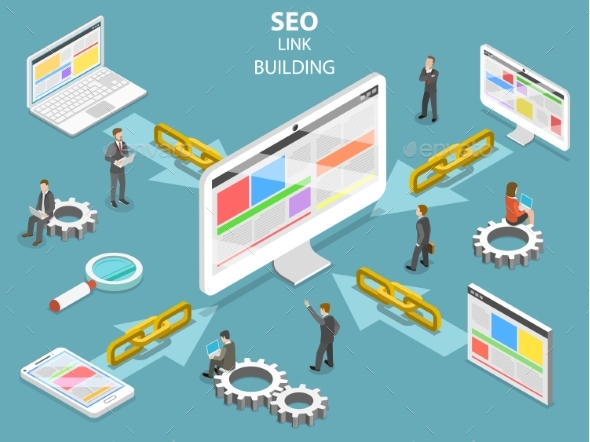 SEO Link Building Flat Isometric Vector Concept - Web Technology
