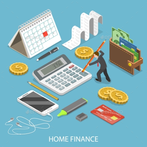 Personal Home Finance Flat Isometric Vector - Concepts Business