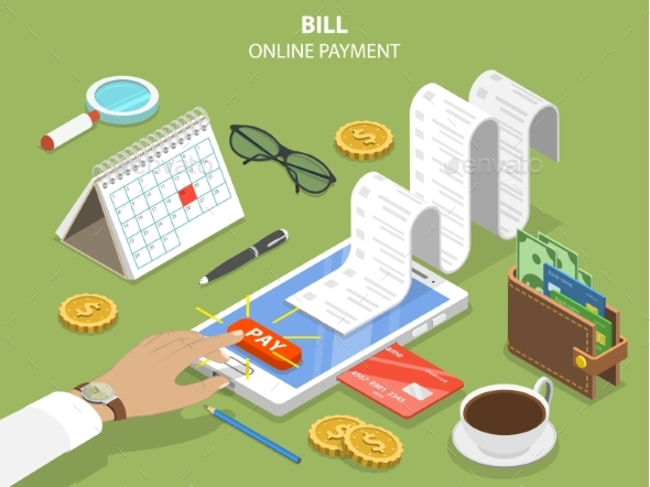 Bills Online Payment Flat Isometric Vector Concept - Computers Technology