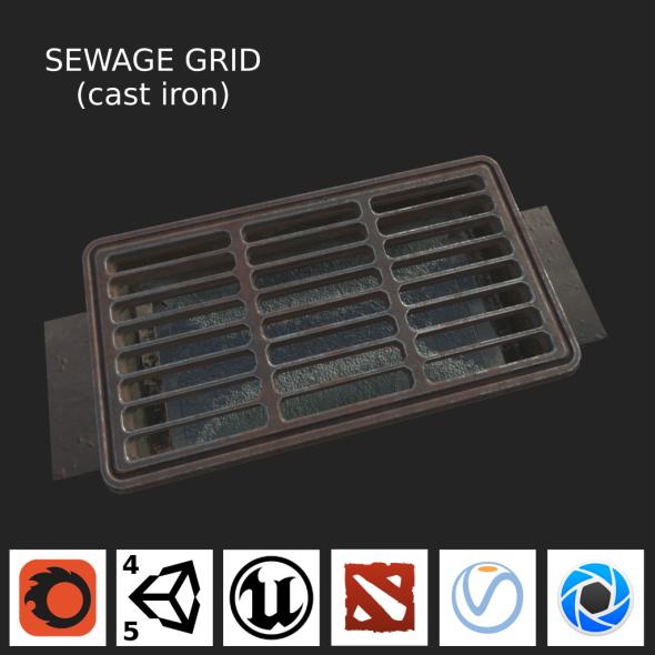 Sewage grate LOW PBR - 3DOcean Item for Sale