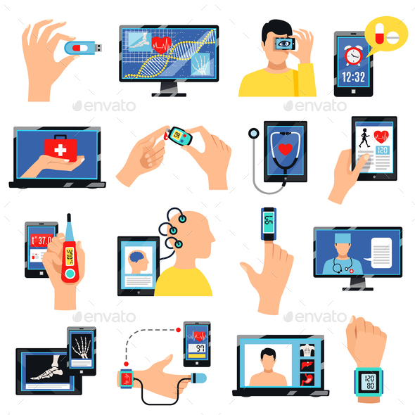 Digital Healthcare Technology Icons Set - Health/Medicine Conceptual