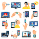 Digital Healthcare Technology Icons Set