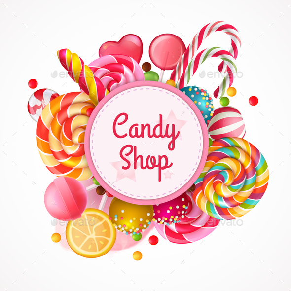 Candy Shop Round Frame Background - Food Objects