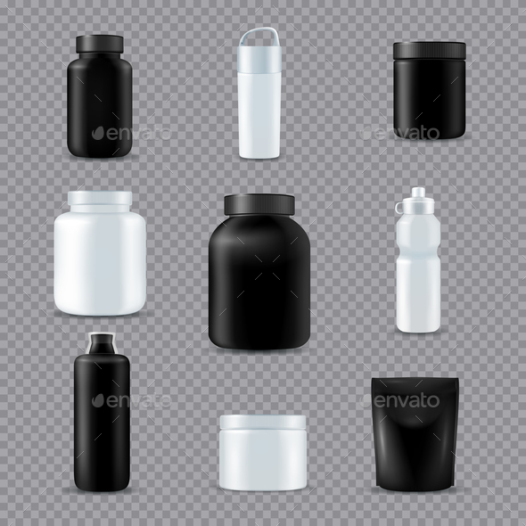 Fitness Sport Bottles Realistic Transparent - Sports/Activity Conceptual