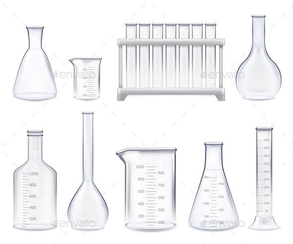 Realistic Test-Tubes Set - Man-made Objects Objects