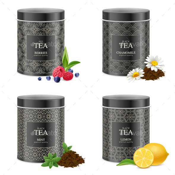 Realistic Blak Tea Tins Set - Food Objects