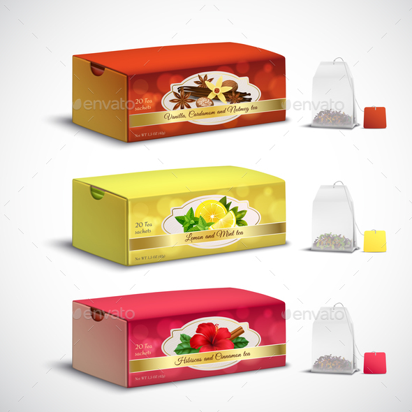 Tea Bags Packaging Realistic Set - Food Objects