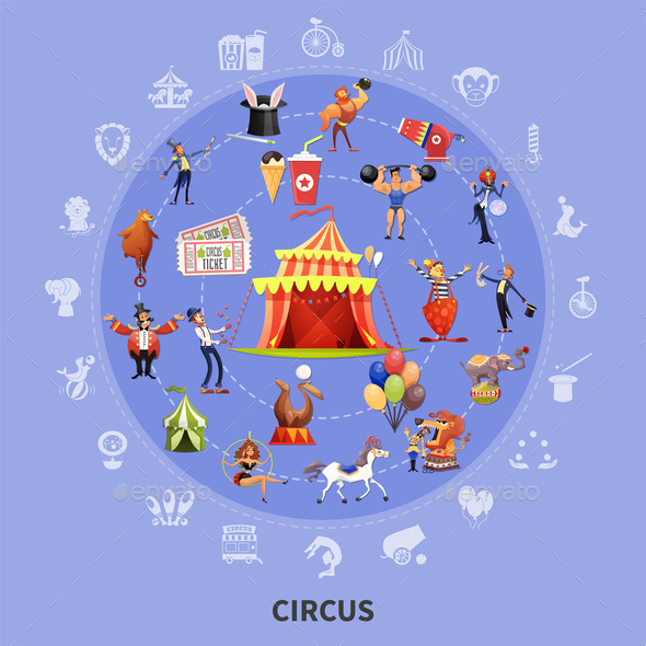 Circus Cartoon Round Composition - Animals Characters