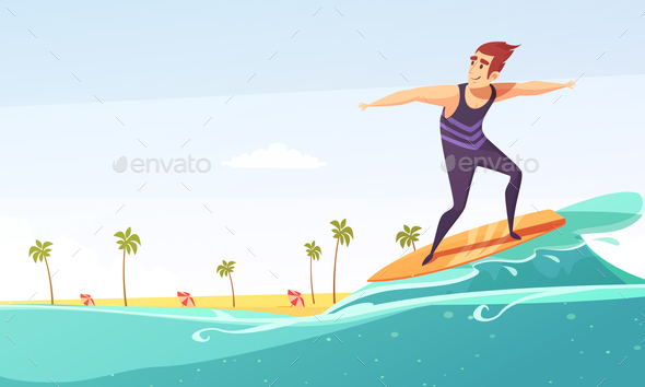 Surfing Tropical Beach Cartoon Poster - People Characters