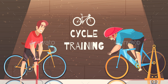 Cycle Racing Training Cartoon Illustration - Sports/Activity Conceptual