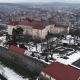 Aerial Beatiful Grimly View on Uzhhorod Castle in Winter. - VideoHive Item for Sale
