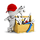 3D Small People - Repairman Near the Toolbox - GraphicRiver Item for Sale