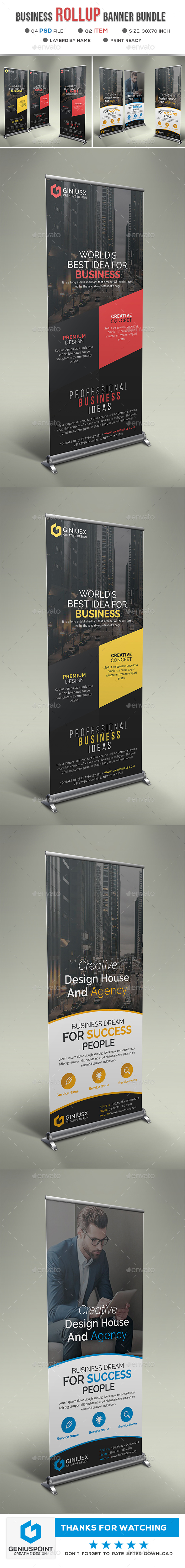 Business Roll Up Banner Bundle - Signage Print Templates