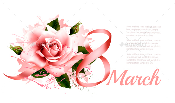 Pink Rose with Ribbon - Miscellaneous Seasons/Holidays