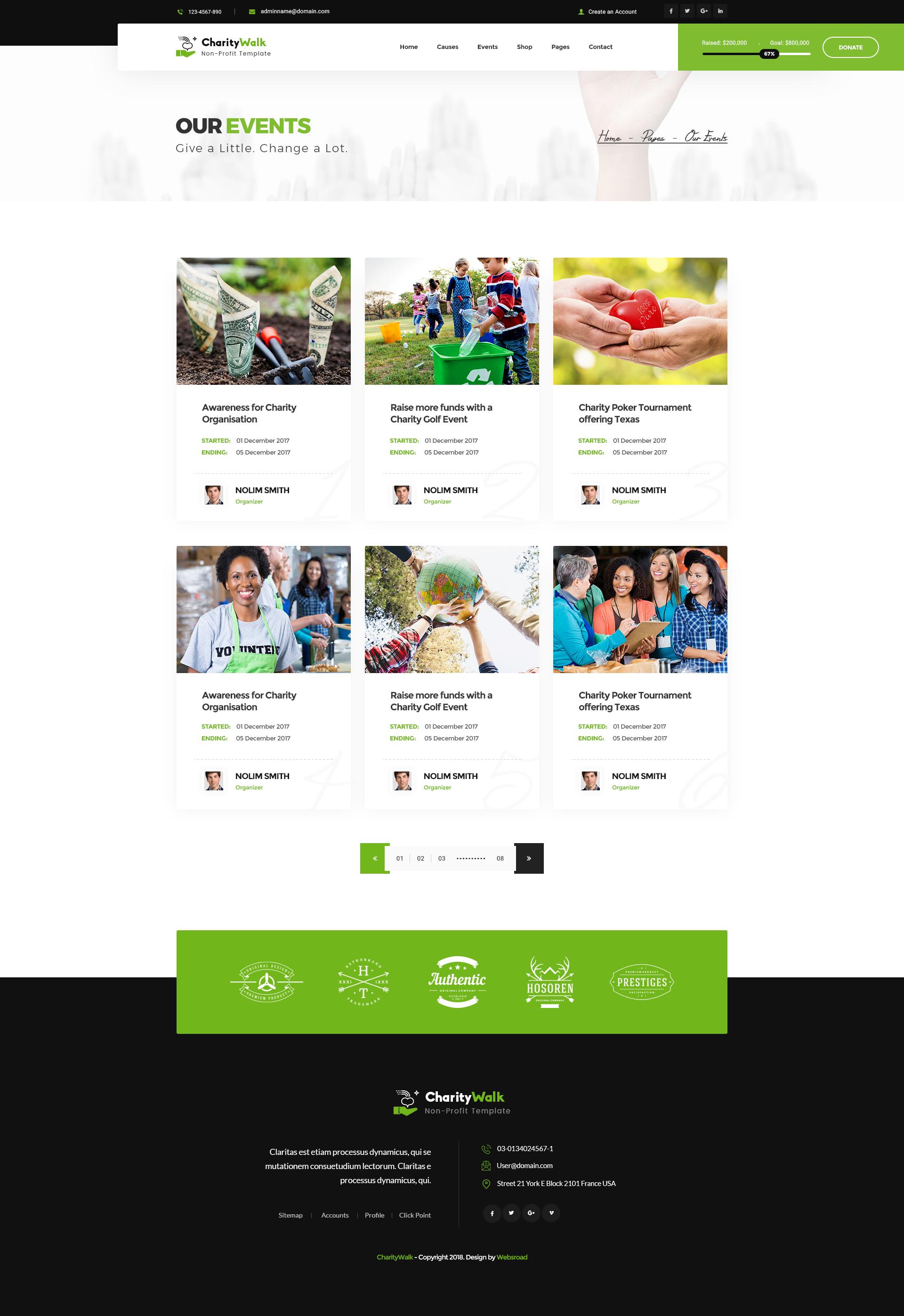 Charity Walk - Multipurpose Nonprofit PSD Template