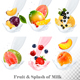 Collection Icons of Fruit in a  Milk Splash