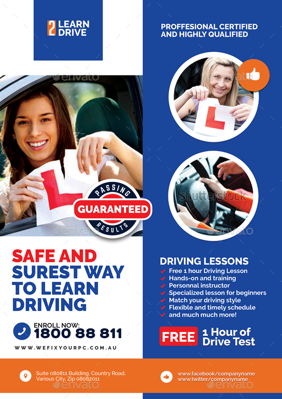 driving school promotional flyer by artchery