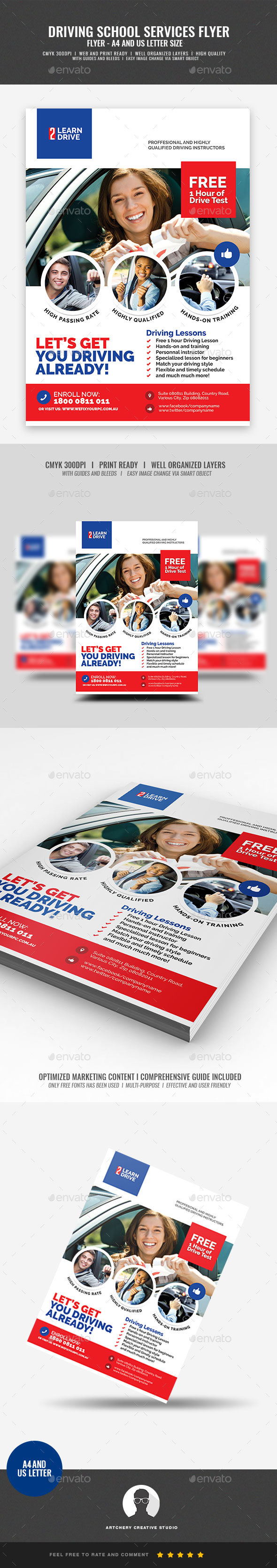 Driving Lesson and Tutorial Flyer - Corporate Flyers
