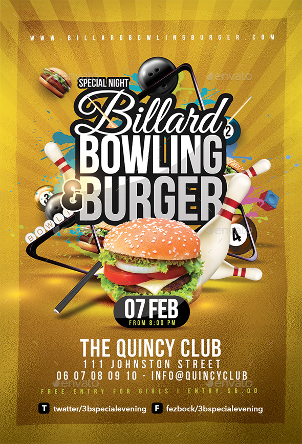 Billiard Bowling Burger Party - Events Flyers