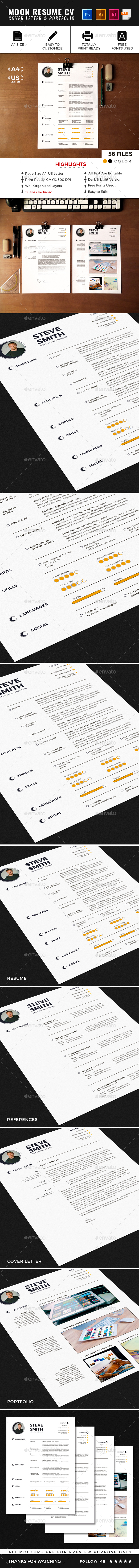 Moon Resume CV Template - Resumes Stationery