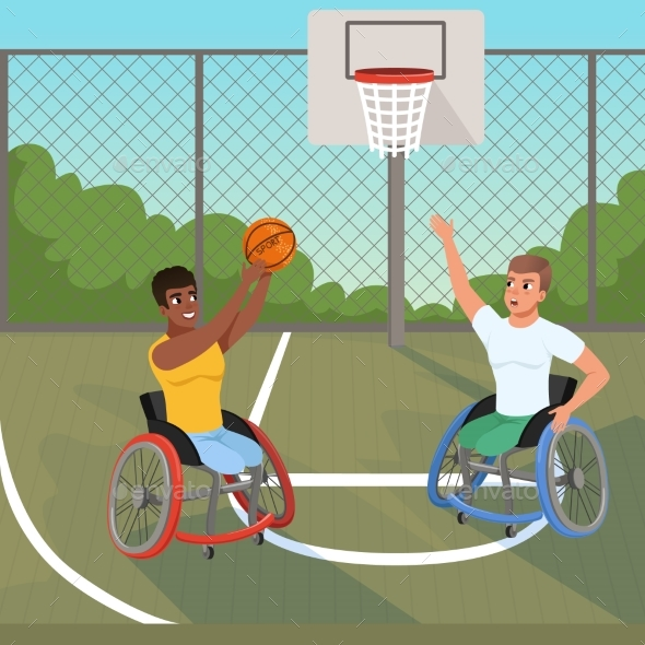 Sportsmen on Wheelchairs Playing with Ball - Sports/Activity Conceptual