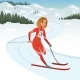 Girl Athlete Taking Part in Skiing Competition