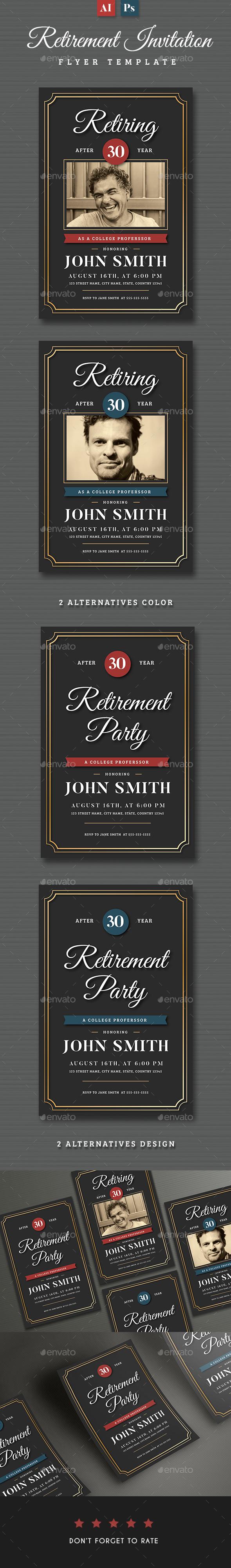 Retirement Invitation Flyer Templates - Invitations Cards & Invites