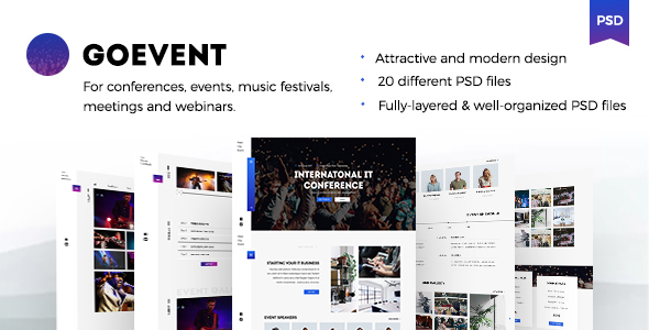 GoEvent – Events & Conference PSD Template