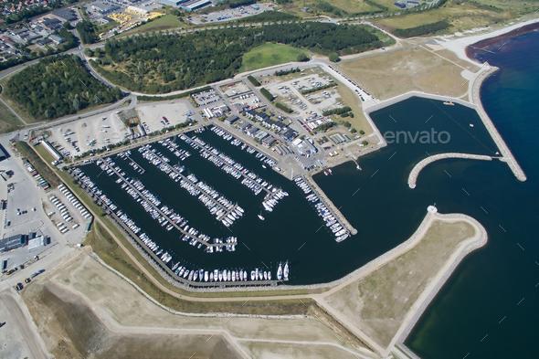 Aerial view of Koege marina, Denmark - Stock Photo - Images