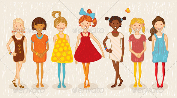 Seven Girls Illustration - People Characters
