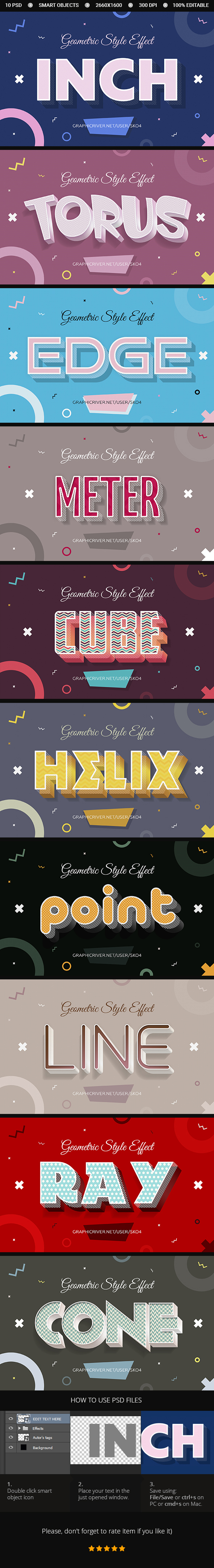 10 Geometric Style Text Effects - PSD - Text Effects Actions