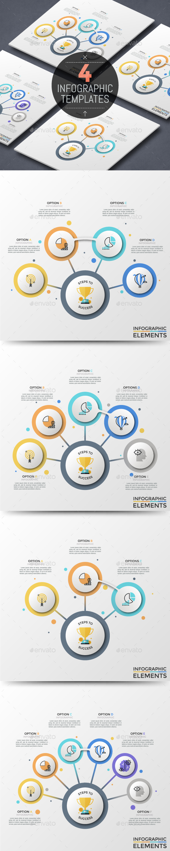 4 Abstract Circular Connection Infographic Templates - Infographics