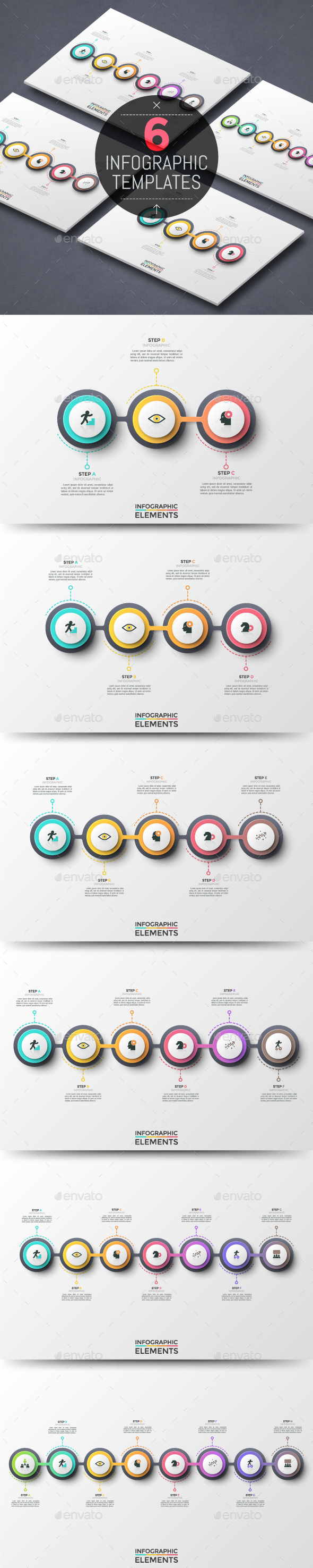 Futuristic Infographic Timelines (6 Items) - Infographics