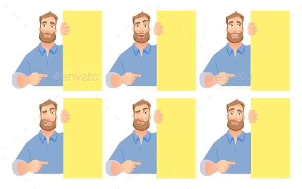 Man Holding Blank Signboard Set - People Characters