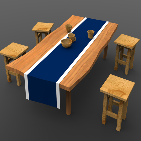 Low Poly Table & Chairs ( Game Ready ) - 3DOcean Item for Sale