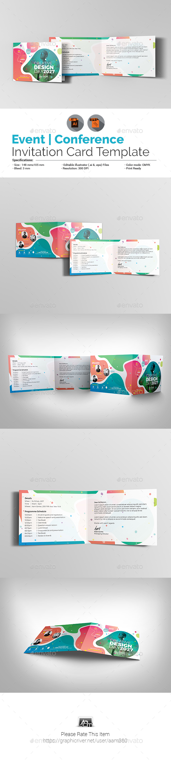 Event/Conference Invitation Card Template - Cards & Invites Print Templates