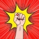 Background with Raised Women s Fist in Pop Art - GraphicRiver Item for Sale